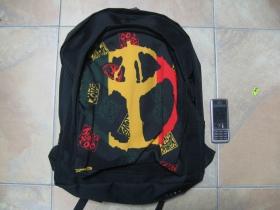 Rasta Peace, ruksak čierny, 100% polyester. Rozmery: Výška 42 cm, šírka 34 cm, hĺbka až 22 cm pri plnom obsahu