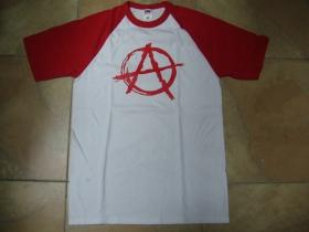 Anarchy áčko v krúžku pánske dvojfarebné tričko 100%bavlna značka Fruit of The Loom (viacero farebných prevedení)
