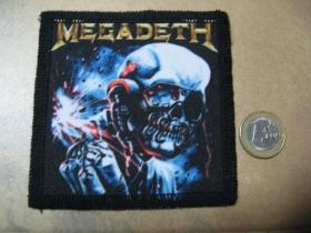 Megadeth ofsetová nášivka po krajoch obšívaná cca. 9x9cm