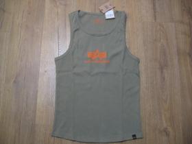 Alpha Industries tielko - olivovo zelené s oranžovým tlačeným logom materiál 100%bavlna