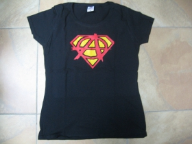 Anarchy Supergirl (superman) dámske čierne tričko Fruit of The Loom 100%bavlna