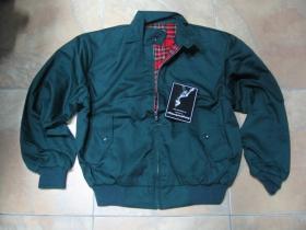 "Harrington KNIGHTBRIDE bunda bez loga s podšívkou červené káro TARTAN ""jar/jeseň  farba: bottle green(fľaškovo zelená)"