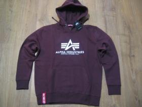 Alpha Industries, hrubá bordová mikina s kapucou a tlačeným logom s klokankovým vačkom 80%bavlna 20%polyester