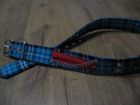 TARTAN - PIRÁT škótske káro modro-čierno-biele s pirátskymi lebkami, retiazkami a zipsami opasok Materiál: 80 % polyester, 10 % syntetická koža a 10 % kov (pracka) nastaviteľná dĺžka od 80 do 110cm