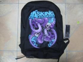 Asking Alexandria, ruksak čierny, 100% polyester. Rozmery: Výška 42 cm, šírka 34 cm, hĺbka až 22 cm pri plnom obsahu