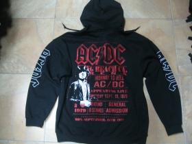 AC/DC  čierna pánska mikina na zips s kapucou