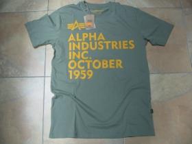 Alpha Industries olivové pánske tričko 100% bavlna