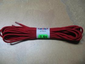 šnúrky do 20. dierkových topánok červené  s dĺžkou 275cm