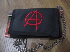Anarchy - Peňaženka s výšívaným logom so zapínaním na suchý zips s kovovou retiazkou a karabínkou na zaistenie