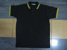 Old School čistá čierna polokošela so žltým lemovaním na límcoch a rukávoch 60%bavlna 40%polyester