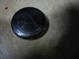 Crass  odznak 25mm  čierny so strieborným logom