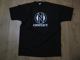 Conflict čierne pánske tričko materiál 100%bavlna značka Fruit of The Loom