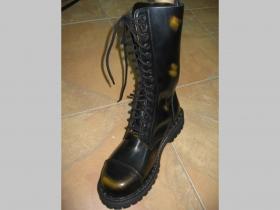 Kožené topánky Steadys 15.dierkové s prešívanou oceľovou špičkou žltočierne