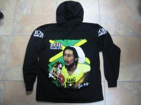 Bob Marley čierna pánska mikina na zips s kapucou 70%bavlna 30%viskóza