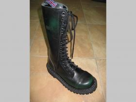 Kožené topánky Steadys 15.dierkové s prešívanou oceľovou špičkou zelenočierne