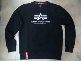 Alpha Industries, čierna mikina bez kapucne s tlačeným logom  80%bavlna 20%polyester