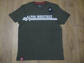 Alpha Industries olivové pánske tričko s tlačeným logom materiál 100%bavlna