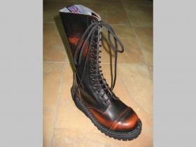 Kožené topánky Steadys 15.dierkové s prešívanou oceľovou špičkou oranžovočierne