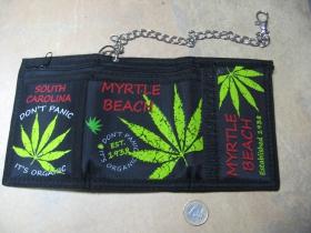 Marijuana - ganja  pevná textilná peňaženka s retiazkou a karabínkou