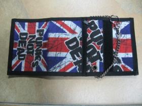 Punks not Dead hrubá pevná textilná peňaženka s retiazkou a karabínkou