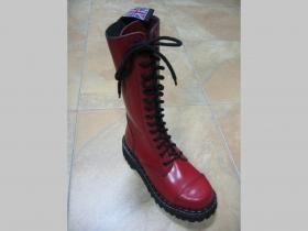 Kožené topánky Steadys 15.dierkové s prešívanou oceľovou špičkou červené
