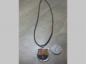 FC Barcelona - znak  kovový chrómovaný prívesok na krk na plastikovej šnúrke s kovovým zapínaním