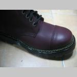 T-REX 10.dierkové bordové topánky s prešívanou oceľovou špičkou z pravej kože najvyššej akosti - TOP KVALITA!!!