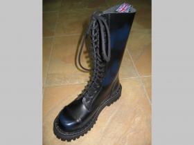 Kožené topánky Steadys 15.dierkové s prešívanou oceľovou špičkou modročierne