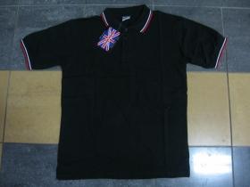 Old School čistá čierna polokošela s červenobielym lemovaním na límcoch a rukávoch 60%bavlna 40%polyester