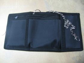 čistá čierna jednofarebná pevná textilná peňaženka s retiazkou a karabínkou