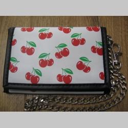 """"""" čerešne """" peňaženka s retiazkou a karabínkou, materiál: imitácia kože, rozmery: 13x9x2cm"""