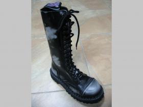 Kožené topánky Steadys 15.dierkové s prešívanou oceľovou špičkou bieločierne