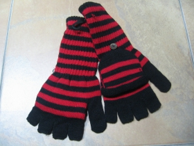 """dámske červenočierne pletené pruhované rukavice """"bez končekov prstov"""""""