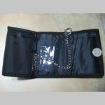 Fuck System čierna pevná textilná peňaženka s retiazkou a karabínkou, tlačené logo