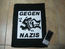Gegen Nazis chrbtová nášivka rozmer cca. A4 (po krajoch neobšívaná   cca.35x26cm