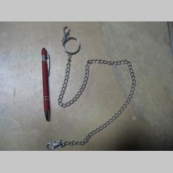 kovová reťazová kľúčenka na nohavice CLASSIC - tenká, na koncoch s krúžkom a karabínkou dĺžka cca. 67cm farba strieborná
