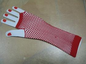 Dámske sieťované rockové rukavičky, elastické červené (cena za jeden pár)