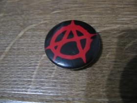 Anarchy áčko v krúžku odznak priemer 25mm