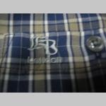Knightsbride pánska károvaná košela s krátkym rukávom farba károvania tmavomodro/béžovo/biele materiál 35%bavlna 65%polyester