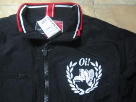 Oi! pohodlná nylónová bunda jar/jeseň s menším tlačeným logom vpredu a veľkým na chrbáte