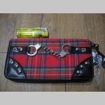 veľká peňaženka PUNKROCK TARTAN - škótske káro zdobená koženkou, vybíjaním a kovovou imitáciou pút