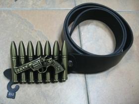 Imitácia nábojov,  čierny opasok s kovovou prackou, univerzálna veľkosť