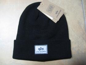 Alpha Industries čierna pletená zimná čiapka s logom  univerzálna veľkosť materiál 100% akryl