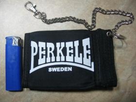 Perkele hrubá pevná textilná peňaženka s retiazkou a karabínkou