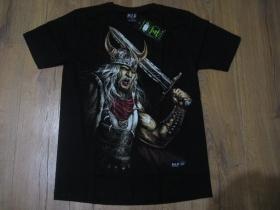 čierne hrubé pánske tričko VIKING s obojstrannou potlačou materiál 100% bavlna