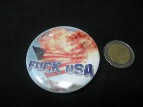 Fuck USA  odznak veľký, priemer 55mm