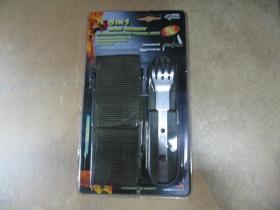vreckový nožík s vývrtkou, lyžičkou, vydličkou a bnylónovým púzdrom na opasok, farba olivová  model 5IN 1