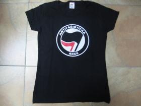 Antifašistická akcia, čierne dámske tričko Fruit of The Loom  100%bavlna