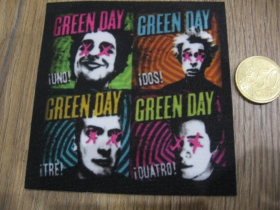 Green Day ofsetová nášivka po krajoch neobšívaná cca. 9x9cm