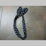 Old school šatka - mašla s drôtikom vo vnútri  čierna s bielymi bodkami
